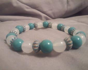Turquoise/White Handmade Beaded Bracelet