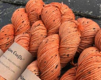 "100g donegal tweed merino DK, hand dyed in  Scotland, burnt orange, ""Irn Bru"""