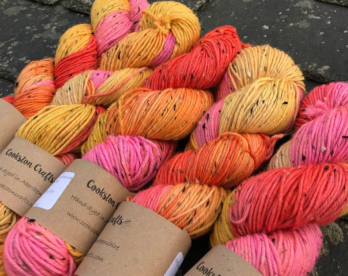 "100g donegal tweed merino DK, hand dyed in Scotland,orange pink yellow ""tutti fruiti"""