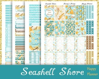 SALE~Seashell Shore~Printable Happy Planner Stickers Weekly Kit For The Classic MAMBI Happy Planner