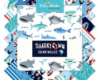 """New Sharktown by Riley Blake; 5"""" square stackers, 42 piece assortment"""