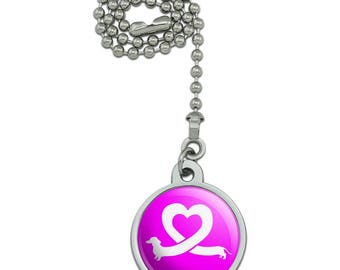Dachshund Wiener Dog Love Heart Ceiling Fan and Light Pull Chain