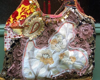 Upcycled Recycled Embellished Tote Shoulder Bag Reclaimed Assemblage Tapestry Velvet