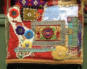 Boho Tote Bag Embellished Recycled Upcycled Slow Fashion