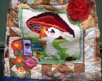 Recycled Upcycled Tote Bag Tapestry Vintage Linens Embellished