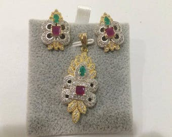 Indian Bollywood American Diamond AD Party Wear Pendant Necklace Jewelry Set