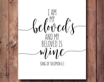 50% OFF I Am My Beloved's And My Beloved Is Mine, Song Of Solomon 6:3, Bible Verse Print, Wedding Decor, Anniversary Gift, Song Of Songs