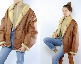 Shearling Jacket / Shearling Coat / Sheepskin Jacket / Sheepskin Coat / Vintage Shearling / Brown Shearling Coat / Brown Shearling Jacket