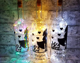 Light Up Wine Bottle With Personalised Congratulations Wedding Quote. Custom message on a bottle, fairy lights bottle, wine bottle