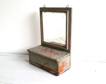 Old rustic (hanging) cabinet with mirror