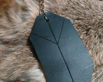 Algiz Leather Keychain