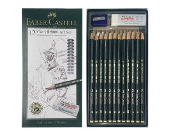 Faber Castell 9000 Graphite Art Set | Drawing Sketching Design | 12 Black Lead Pencil Grade 8B, 7B, 6B, 5B, 4B, 3B, 2B, B, HB, F, H & 2H