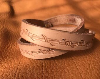 Double wrap Braclet with bobwire design and brass button hook