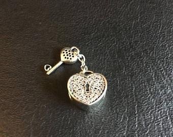 ON SALE Genuine Pandora Silver Heart Lock Of Love Key Pave Pendant Charm Bead *NEW* - 791429Cz