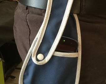 """phone to its version """"blue and silver"""" belt wallet"""