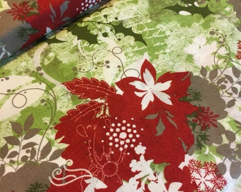 Paisley Fabric Christmas Blitzen Basic Grey for Moda Fabrics Pattern 30290 12 Red Grey  Greens on White   100% Quality Cotton by 1/2 yd