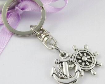 Nautical Ships Helm & Anchor Charm Keychain Keyring Swivel Bag Tag 70mm