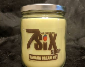 Banana Cream Pie Scented Candle + Free gift! (16oz. Soy Wax, Hand Poured Candle)