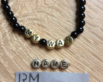Bracelet name beads Black Silver gold personalized letter bracelet name beads black gold silver personalized jewelry letters