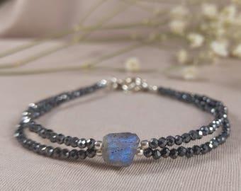 Labradorite & gray spinels bracelet, 925 sterling silver