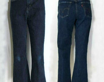 90s 512 Levis/ 4/ High Waist / Dark Wash /Stretch /Ankle Cropped Flare Jeans ~ 4