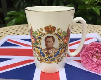 King George VI Coronation Mug, 1937, Royal Family, commemorative souvenir