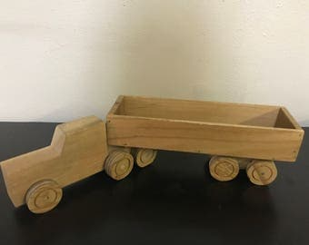 Wood toy a truck and trailer
