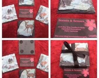 X4 Natural Slate Coasters Hand Decorated