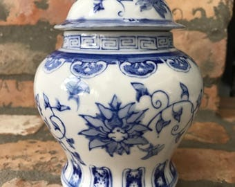Small blue and white ginger jar-chinoiserie -palm beach regency