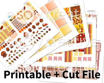 Handdrawn Thanksgiving - Weekly Sticker Kit Printable for Erin Condren Horizontal - HWK-048 - INSTANT DOWNLOAD