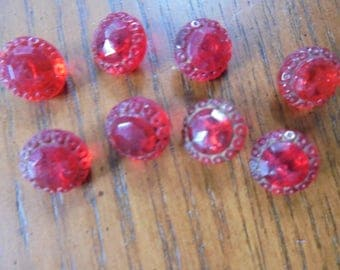 Vintage Lot of Red Glass Buttons (8)