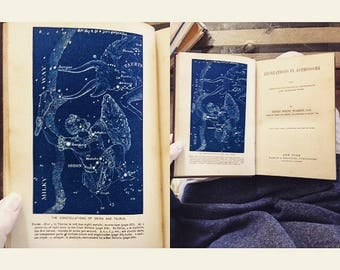 SOLD - Vintage book Recreations in Astronomy by Henry White Warren, First Edition 1879, star charts/maps, MANY RARE full color illustrations