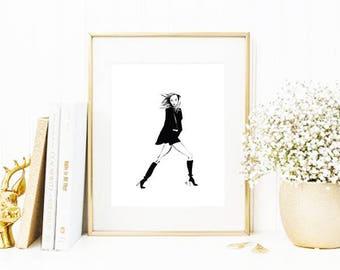 Karlie • Art Print   Fashion Illustration