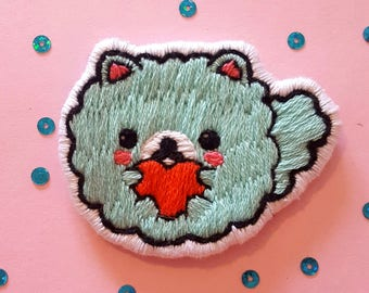 Cute pomeranian dog hand embnroidery patch