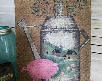 Distressed Handpainted Burlap Pig and Milk Can Picture