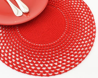 Placemat Roma in red cotton Crochet centerpiece Xmas gift Wedding Housewarming gift