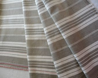 """Antique French ticking fabric/Taupe and white stripe ticking/original antique french linen ticking / French textile 80"""" x 66"""""""