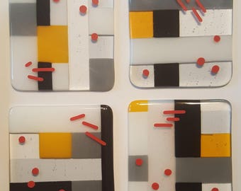 "Fused Art Glass Coasters 4""x 4"" - Set of 4"