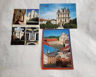 Three different vintage postcards, vintage art postcards, collectible postcard, vintage souvenir World cities, old postcards of Vilnius