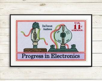 Large poster: DeForest Audions, vintage electronics, vintage posters, antique electronics, electronics posters, poster art set, vintage art