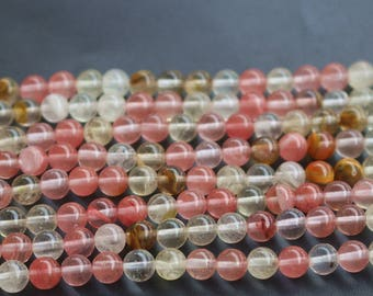 6mm 8mm Beads - Cherry Quartz Beads-Smooth And Round Cherry Quartz  Beads,15 inches one strand