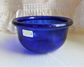 Nuutajärvi: LUNA Series Set Of Two Cobalt Blue Glass Dessert Bowls, Designed By Kaj Franck