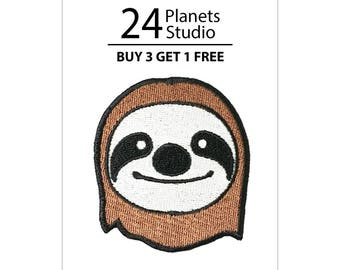 Brown Sloth Iron on Patch by 24PlanetsStudio Cute Applique Gift girl Fashion