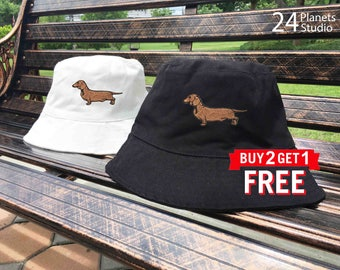Dachshund Dog Embroidered Bucket Hat by 24PlanetsStudio
