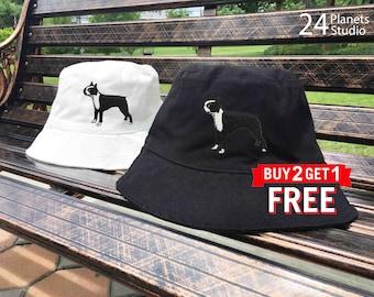 Boston Terrier Dog Embroidered Bucket Hat by 24PlanetsStudio