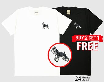 Schnauzer102 Dog Embroidered T-Shirt by 24PlanetsStudio