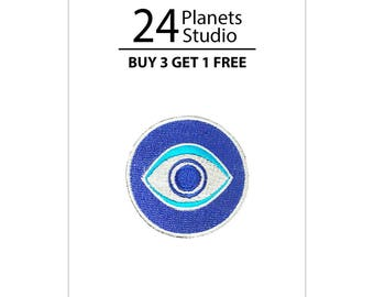 Mini Evil Eye Iron on Patch by 24PlanetsStudio