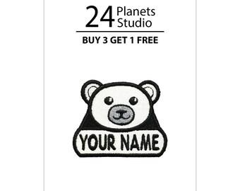 """Mini Polar Bear """"Your Name"""" Iron on Patch by 24PlanetsStudio"""