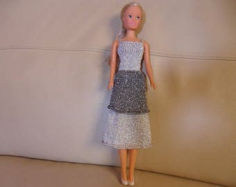 knee-length dress in silver lame thread