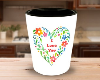 Watercolour Floral Heart Wreath SHOT GLASS I Love You Stylish Artistic Unique Hostess Gift Anniversary Birthday Present Ceramic Shot Glass